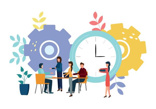 illustration de personnes accueillant un nouveau collaborateur