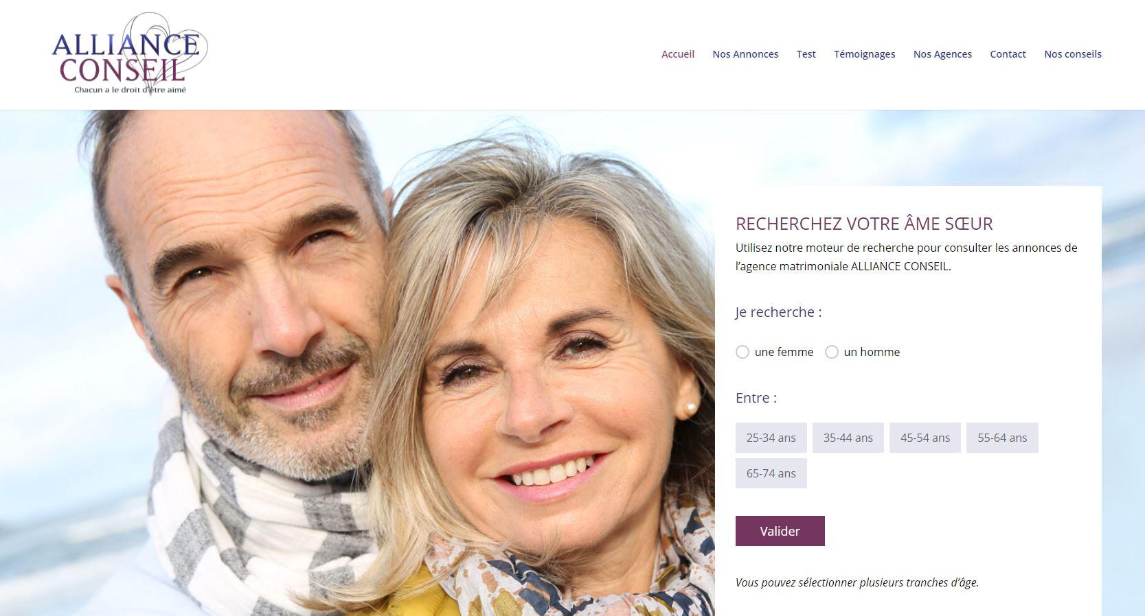 Visuel de l'homepage du site internet de l'agence Alliance Conseils